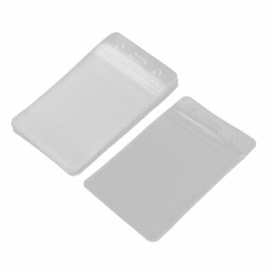 Office Business Plastic Vertical ID Badge Name Tag Card Holder Clear 10pcs