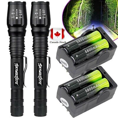 Tactical 50000LM Zoomable 5-Modes T6 LED Flashlight+18650 Battery+Smart Charger