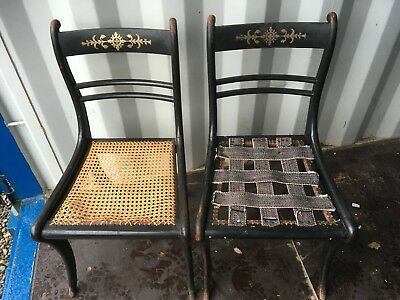 Pair of Early 19th Century Regency Dining Chair with Brass Inlay, Project Item