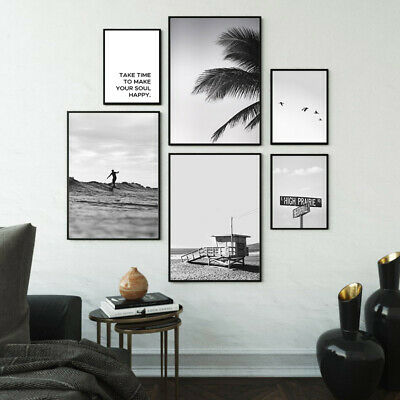 Seascape Poster Ocean Beach Black White Wall Art Canvas Print Decorative Picture