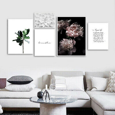 Scandinavian Poster Nordic Peony Flower Wall Art Canvas Print Modern Decoration