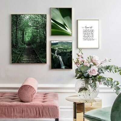 Nature Landscape Poster Nordic Mountain Waterfall Forest Wall Art Canvas Print