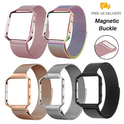 For Fitbit Blaze Strap Replacement Milanese Loop Band Magnet Metal Buckle +Frame