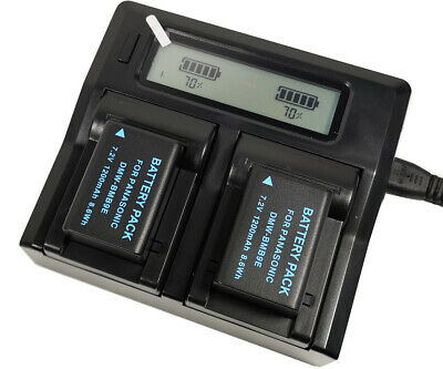 Quick LCD Charger +2x 1200mAh Battery for DMW-BMB9 DMW-BMB9e DMW-BMB9PP Lumix DC