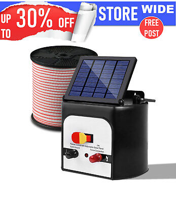 Giantz 8km Solar Electric Fence Energiser Charger 400M Tape and 25pcs Insulators