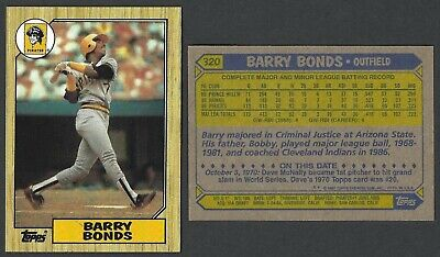 1987 Topps Barry Bonds Pittsburgh Pirates 320 Error