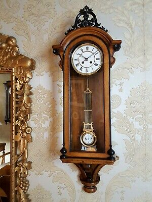 Unusual antique French striking Vienna regulator style wall Clock