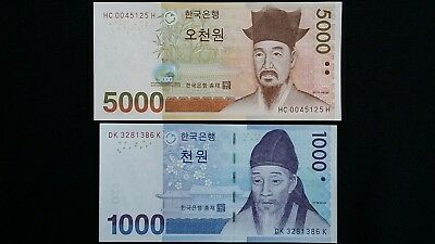 SOUTH KOREA 5000 & 1000 Won x 2 UNC Banknote Set