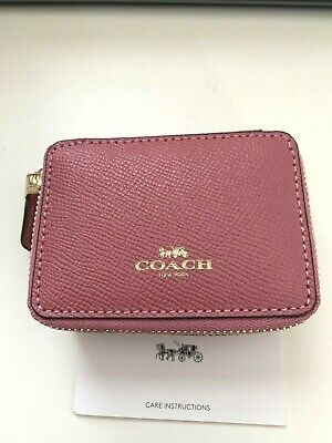 Coach Leather Triple Pill Box Travel Case F41289 Strawberry