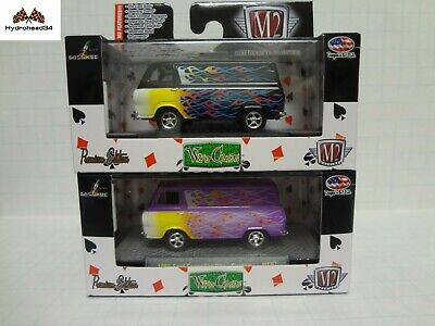 M2 Machines 1965 Ford Econoline Van Flames WC07 Set of 2 1:64 in box