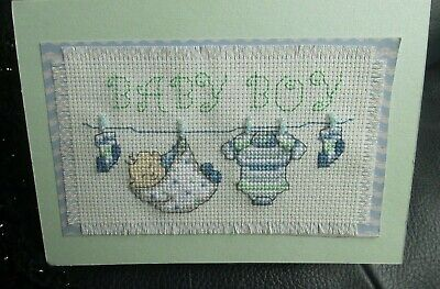 Baby Boy ;Completed Cross Stitch Card 6 X 4 Inches.