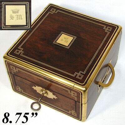 "Antique French Rosewood & Brass 8.75"" Jewelry, Work or Table Box, Crown Monogram"