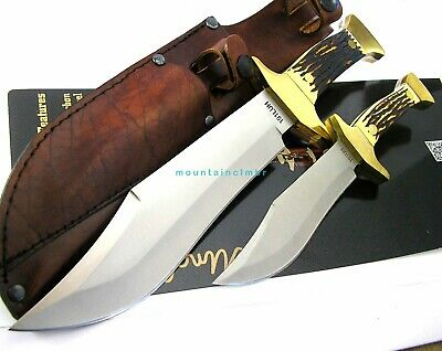 """Schrade Uncle Henry 2 Pc Large 13"""" Small 8"""" Bowie Fixed Blade FullTang Knife Set"""