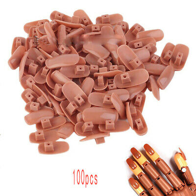 100Pcs/Bag ABS Finger Flexible Refill Hand Practice Tips Brown