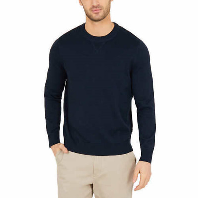 Nautica Mens Long Sleeve Crewneck Sweater Pullover Solid Navy Blue Size XL NWT