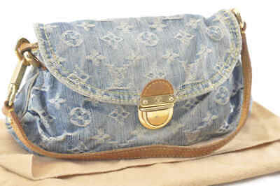 ea57a3763d1a8 LOUIS VUITTON Monogram Denim Mini Pleaty Shoulder Bag Blue M95050 Auth 2544
