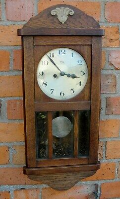 1930s ART DECO WALL CLOCK in OAK CASE with CHIMES in good working condition