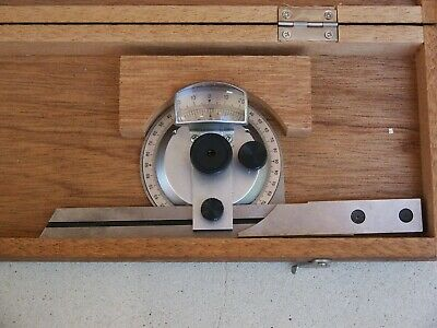 SPI 30-395-8 Vernier 6 Inch Protractor in Wood Case -Surplus