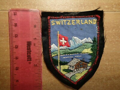 Vintage Souvenir Patch-SWITZERLAND-Flag/Chalet/Lake/Alps/Travel-EMBROIDERED