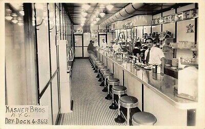 New York NY Kasner Bros. Diner Owner Customers Real Photo Postcard