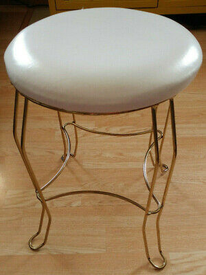 Miraculous Vintage Gold Metal Vanity Stool Make Up Table Bench Chair Inzonedesignstudio Interior Chair Design Inzonedesignstudiocom