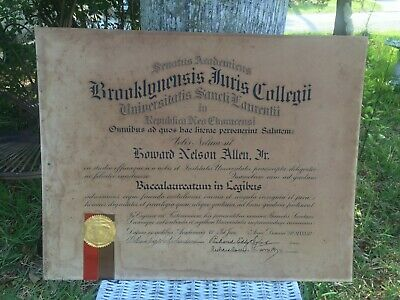 Vintage University Degree From St Lawrence Law School Brooklyn Signed 1933 Latin