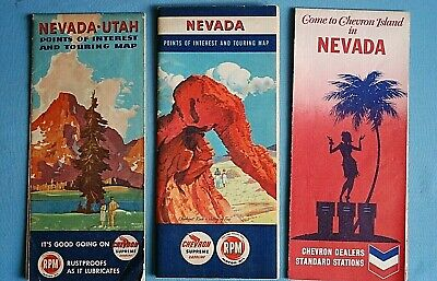 Lot of 6 Vintage Nevada Oil Co Road Maps - Chevron / Shell / Phillips 66