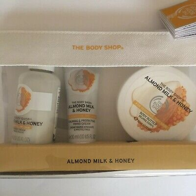 The Body Shop Almond Milk and Honey Set - Body Butter Hand Cream Shower Cream