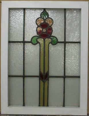 "MID SIZED OLD ENGLISH LEADED STAINED GLASS WINDOW Floral Tower 21.75"" x 28.25"""