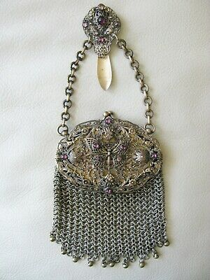 Antique Victorian Gold T Jewel Butterfly Belt Clip Chatelaine Mesh Purse 1890s