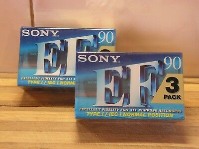 6 x Sony EF-90 Blank Audio Cassette Tapes Brand New & Sealed