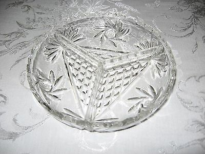 "Vintage Antique Cut Glass Crystal 7"" Divided 3 Section Dish Bowl Scalloped Edges"