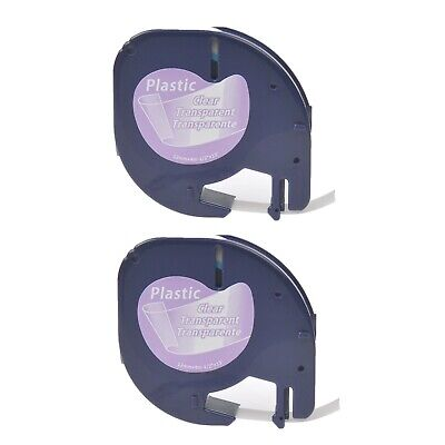2PK Plastic Label Tape fit for DYMO LetraTag 16952 12267 Black on Clear 12mm