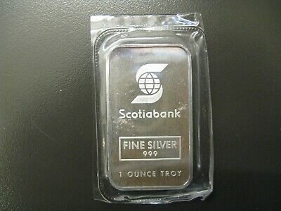 Rare 1 oz Johnson Matthey SCOTIA BANK silver bar - Serial 001466