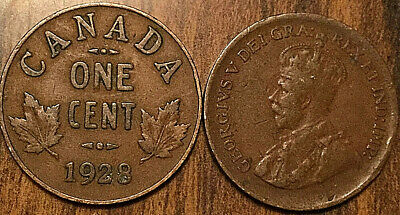 1928 Canada Small 1 Cent Coin Penny Vg-F Buy 1 Or More Its Free Shipping!