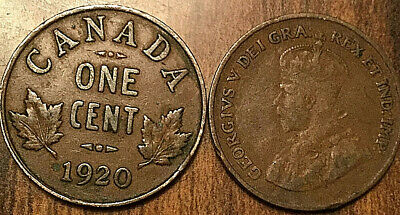 1920 Canada Small 1 Cent Coin Penny Vg-F Buy 1 Or More Its Free Shipping!