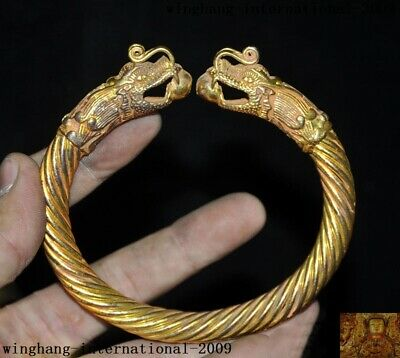 old Chinese antique bronze 24k gold animal Dragon head statue bracelet hand ring