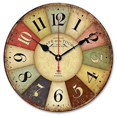 Alicemall 12 Inch Retro Wooden Silent Non Ticking Wall Clocks Rustic Style Style