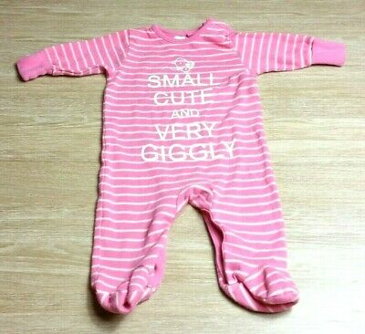 NEXT Baby GIRLS SLEEPSUIT Age 0-3 Months Pink SLOGAN Cute Giggly