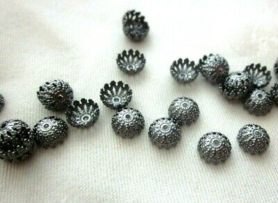 50 Gunmetal Coloured 8mmx4mm Brass Bead Caps #bc3409 Jewellery Making Findings