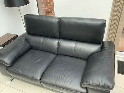 Dfs 3 Seater Black Leather Sofa Bed With Mattress 41 00