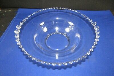 "Vintage Imperial Glass Candlewick 12"" Salad Bowl,Serving Dish,3.5"" Deep,Lrg Bead"