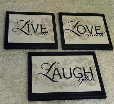 Live Laugh Love Wood Word Art Sign Wall Decor Black 23 95 Picclick