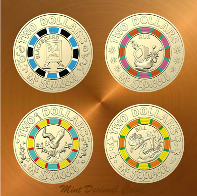 2019 MR. SQUIGGLE ... 4 x $2 COINS ... from a Folder ... Registered Post ... #1