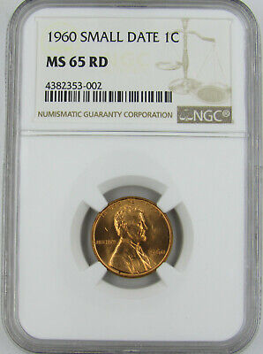 1960 Small Date Lincoln Cent Ngc Ms65Rd