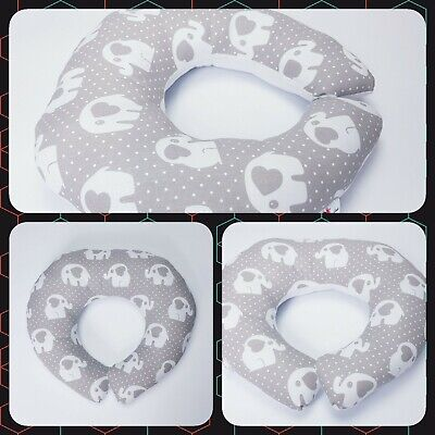 Breast feeding SMALL PILLOW 40cm dia..  pillow Baby support elephant grey white