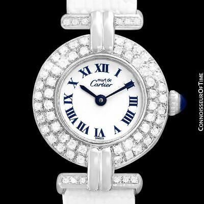 CARTIER COLISEE Ladies Vendome 18K White Gold Plated & Diamond Watch