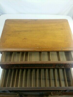 Antique Clarks 2 Drawer Spool Cabinet Country Store Advertising Counter Display
