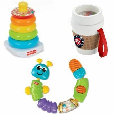 Fisher-Price Baby Kid Child Toy Rock-a-Stack Snap-Lock Caterpillar Coffee Cup