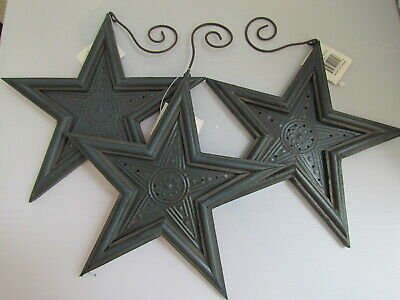 Primitive style punched metal Blue STAR Ornaments 3pc NEW Americana Tender Heart